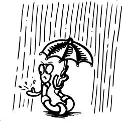 regenworm houdt niet van regen, illustratie cartoon karakter - pentekening met zwarte inkt.