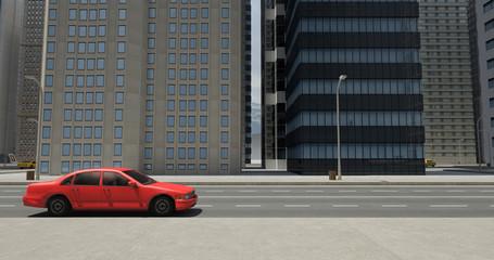 3D Street Flight Render With Skyscrapers