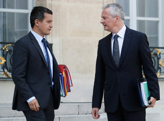 French Finance Minister Le Maire and Minister of Public Action and Accounts Darmanin leave after the weekly cabinet meeting at the Elysee Palace in Paris