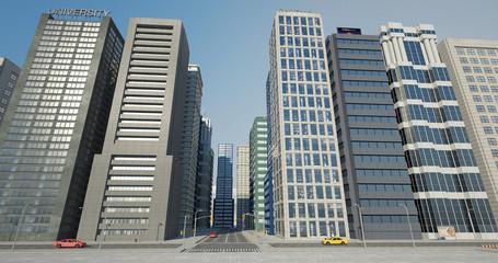 Metropolitan Aerial City Flight Render With Skyscrapers