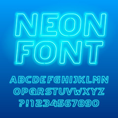 Neon lamp alphabet font. Neon color italic letters, numbers and symbols. Stock vector typography for your design.
