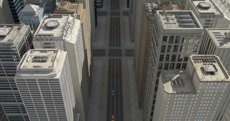 Aerial 3D City Flight Render Over The Skyscrapers