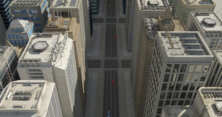 Aerial 3D City Flight Render Over The Skyscrapers