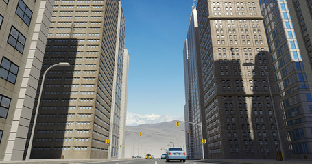 Aerial 3D City Flight Render Over The Road With Skyscrapers