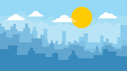 Flat cityscape with blue sky, white clouds and sun