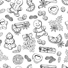 Pattern of vector illustrations on the Christmas Traditions theme; set of different kinds of Christmas symbols and sweets: candies, fruits and nuts.