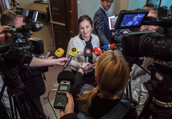 Elisabeth Massi Fritz, lawyer of the alleged victim, speaks to the press during the the last day of hearings in Stockholm district court in the trial against Jean-Claude Arnault, accused of rape and sexual assault
