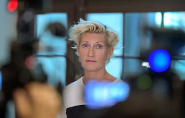 Prosecutor Christina Voigt speaks to the press during the the last day of hearings in Stockholm district court in the trial against Jean-Claude Arnault, accused of rape and sexual assault