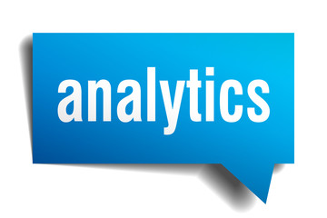 analytics blue 3d speech bubble