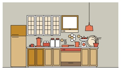 Stylish interior of modern furnished kitchen with cupboards, electronic appliances, cookware, cooking utensils and facilities, home decorations. Colored vector illustration in trendy linear style.