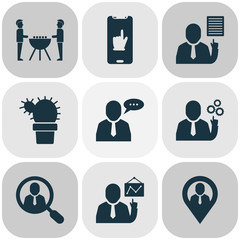Teamwork icons set with team schedule, geolocation, office plant and other talking worker