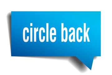 circle back blue 3d speech bubble