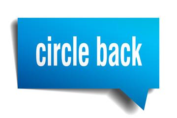 circle back blue 3d speech bubble