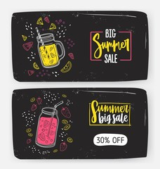 Set of horizontal web banner templates with Big Summer Sale inscription and refreshing drinks, beverages or cocktails made of delicious exotic fruits and berries. Colorful vector illustration.