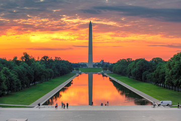 Sunrise from Lincoln Memorial with Washington Monument
