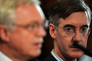 Leading Conservative Party Brexiter Jacob Rees-Mogg and David Davis, the former Sectetary of State for departing the European Union, attend the presentation of their trade plan for a post-Brexit Britain, in London