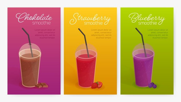 Collection of flyer or poster templates with delicious smoothies or healthy tasty detox drinks in plastic glasses with lid and straw. Colorful vector illustration for advertisement, promotion.