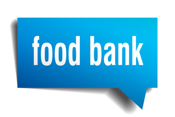 food bank blue 3d speech bubble