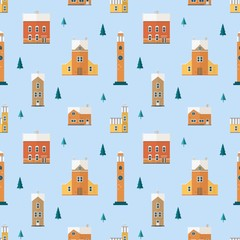 Fototapete - Seamless pattern with old buildings, clock towers, spruce trees. Backdrop with city houses of European architecture. Colorful vector illustration in flat cartoon style for wrapping paper, wallpaper.