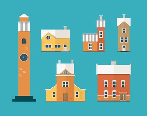 Fototapete - Collection of two-storey residential buildings and clock tower isolated on green background. Set of city or town houses of European architecture. Colorful vector illustration in flat cartoon style.