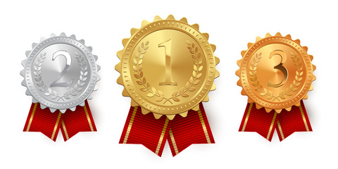 Gold, silver and bronze medals with red ribbons isolated on white background. Vector design element.