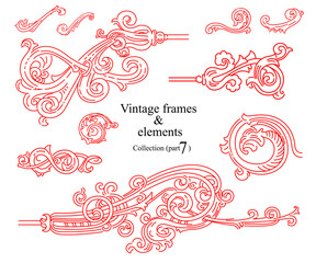 Vintage jewelry, for printing, labels and packaging, postcards, books and other beautiful images. Collection in vector. Part 7