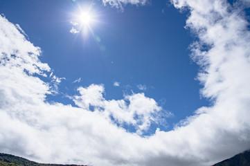山岳地帯の太陽