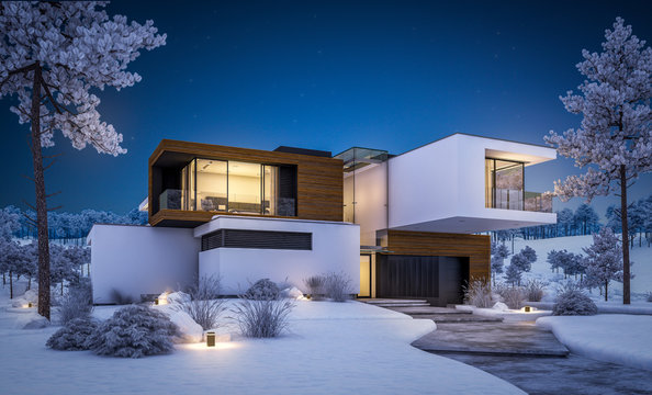 3d rendering of modern cozy house by the river with garage. Cool winter night with cozy warm light from windows. For sale or rent with beautiful mountains on background