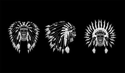 A skull icons wearing American Indian war bonnet black and white color. Vector background
