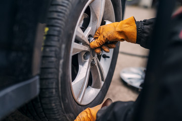 Picture of auto mechanics hands putting car tire on cr in workshop.