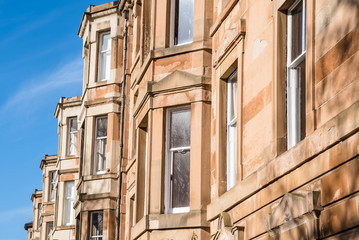 Detail of Traditional Scottish Town Houses in Edinburgh City Centre on a Clear Winter Day