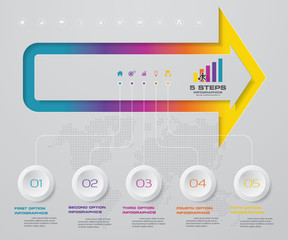 5 arrow steps timeline infographic element. 5 steps infographic, vector banner can be used for workflow layout, diagram,presentation, education or any number option. EPS10.