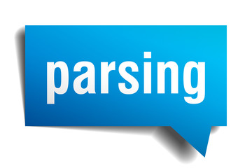 parsing blue 3d speech bubble