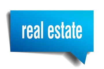 real estate blue 3d speech bubble