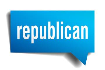republican blue 3d speech bubble