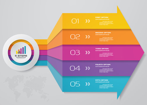 5 steps arrow infographics chart design element. For data presentation. EPS 10.