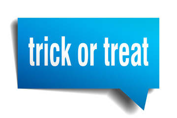 trick or treat blue 3d speech bubble