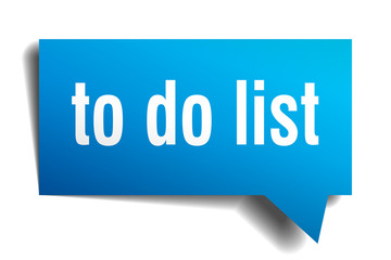 to do list blue 3d speech bubble