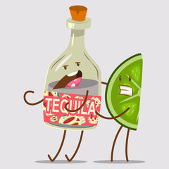 Funny Tequila and Lime character. Cute mexican food and drink vector cartoon illustration isolated on background. Best friends concept design.