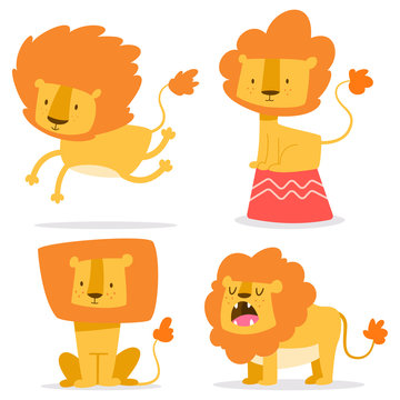 Cute lion simple vector cartoon set. Flat funny African animal character isolated on white background.