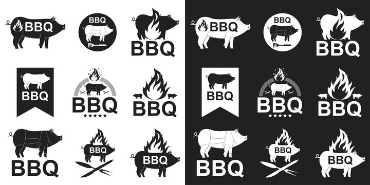 Barbecue logo, stamp, emblem with pig, fire and bbq tools. Vector flat set of a pork silhouette isolated on white and black background.
