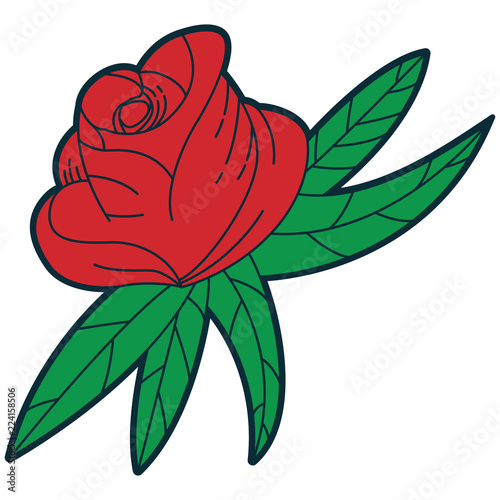Old School Tattoo Design Red Rose Vector Cartoon Traditional