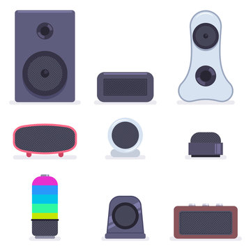 Music sound stereo speaker vector cartoon flat set isolated on a white background.
