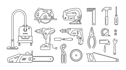 set of repair building tools icons outline