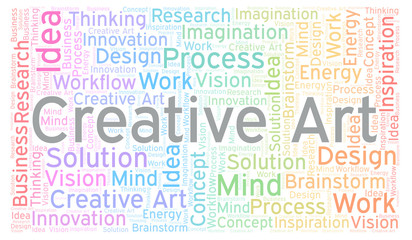 Creative Art word cloud, made with text only.
