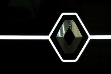 Renault logo is seen on its EZ-PRO concept vehicle at a media preview at Renault's R&D centre in Guyancourt