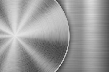 Wall Mural - Metal technology background with circular and straight polished, brushed texture, chrome, silver, steel, aluminum for design concepts, wallpapers, web and prints . Vector illustration