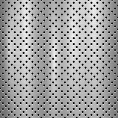 Fototapete - Metal technology background with with seamless circle perforated pattern and circular polished, brushed texture, chrome, silver, steel for design concepts, web, prints, wallpapers. Vector illustration