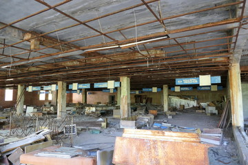 Abandoned Supermarket in the Ghost Town of Pripyat, Chernobyl zone, Ukraine