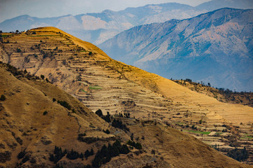 Rolling hills and terraces in the mountain range